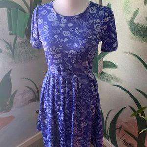 LULAROE Amelia Dress, M Blue with Floral Design
